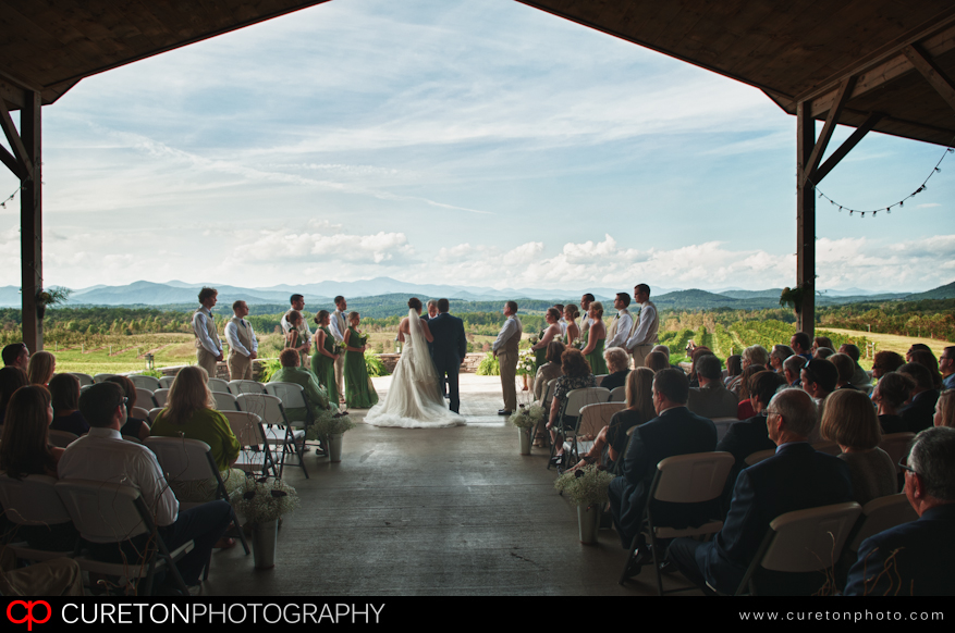The view of the ceremony at Chattooga Belle Farm in Long Creek, SC.