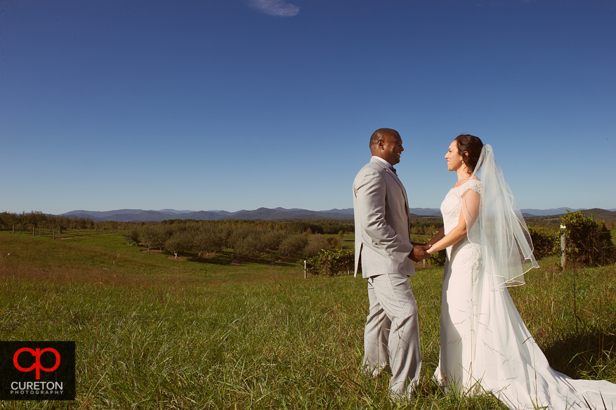 Creative, epic portraits of bride and groom in the vineyard after their Chattooga Belle Farm wedding.