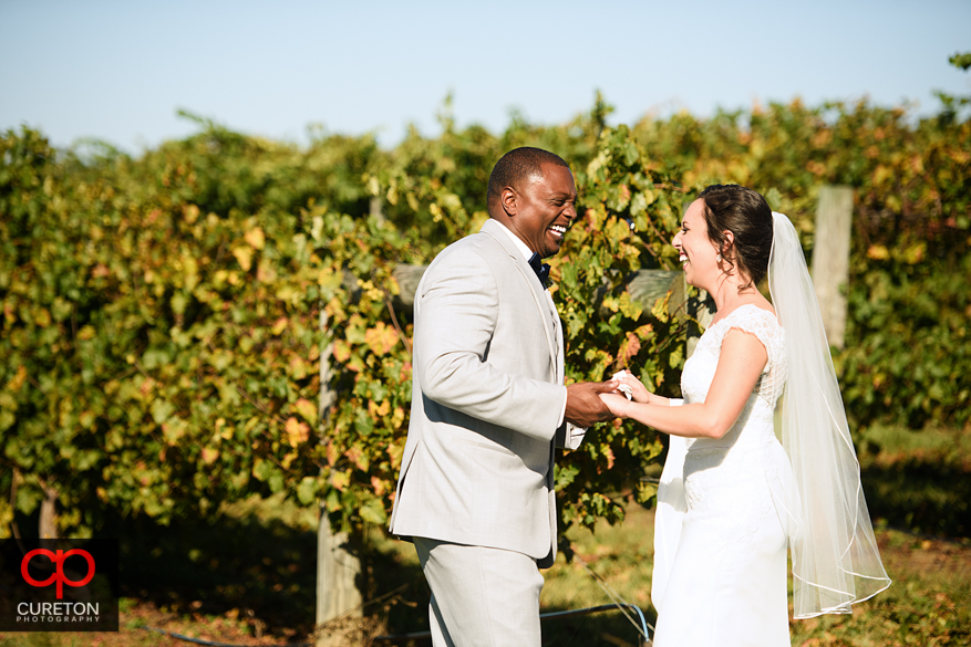 First Look before Chattooga Belle Farm wedding.