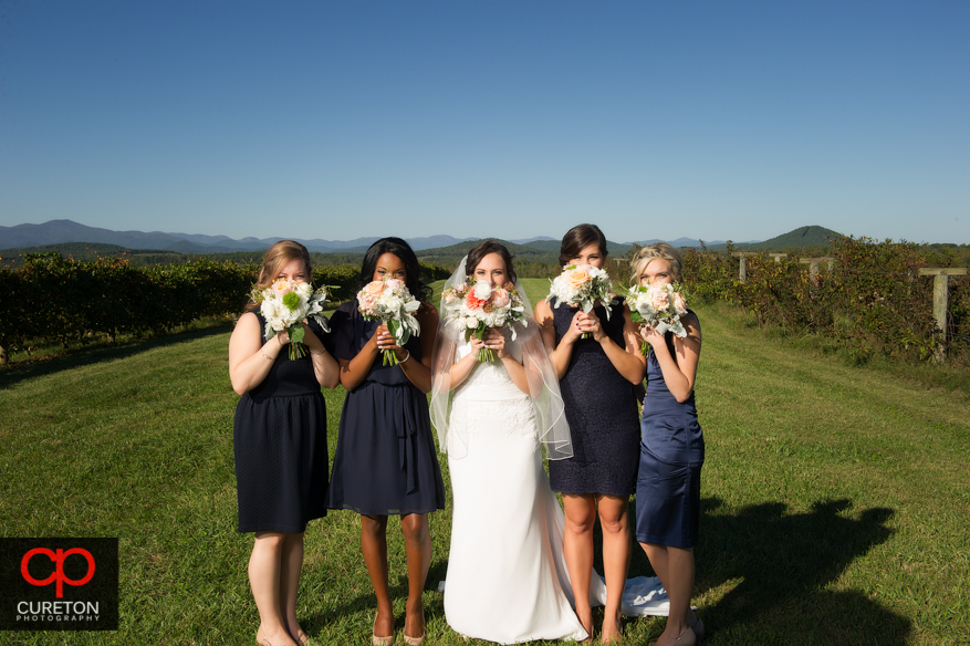 Bridesmaids and flowers at Chattooga Belle Farm.