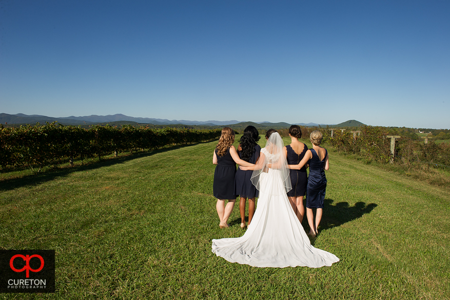 Creative bridesmaids pose at Chattooga Belle Farm.