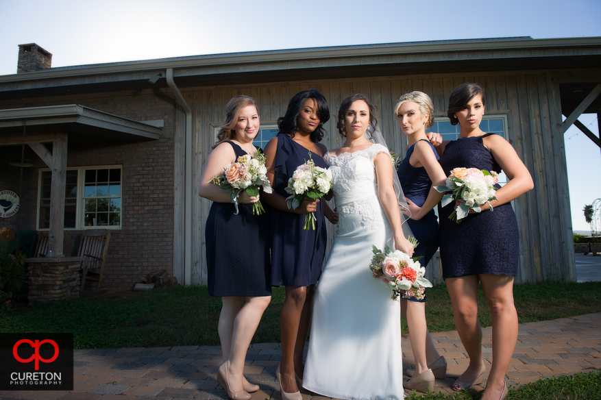 Bridesmaids posing outside Chattooga Belle.