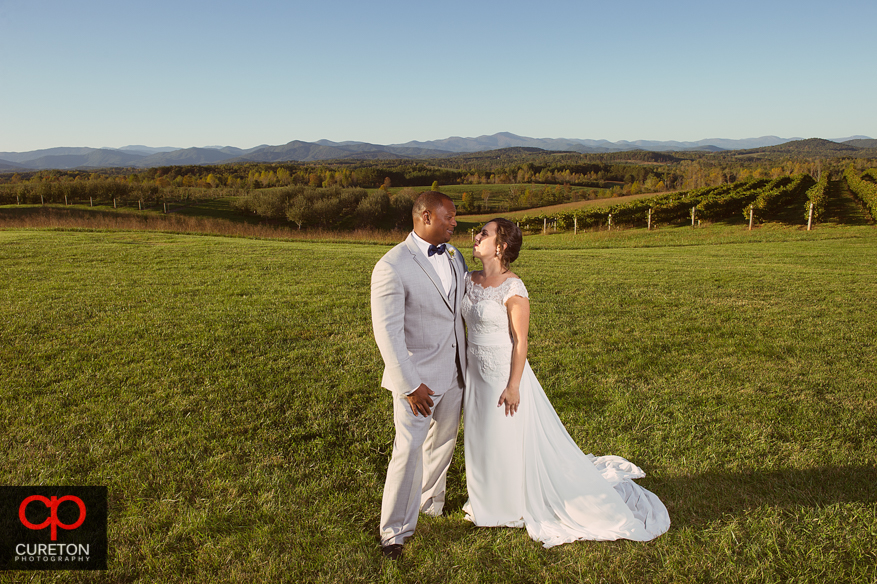 Bride and Groom after thier Chattooga Belle Farm wedding.