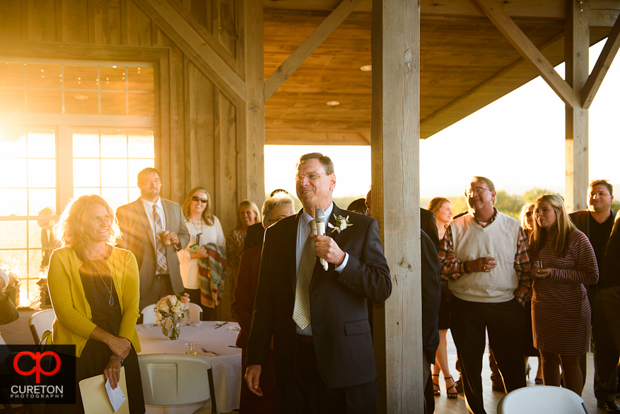 Brides dad gives welcome speech.