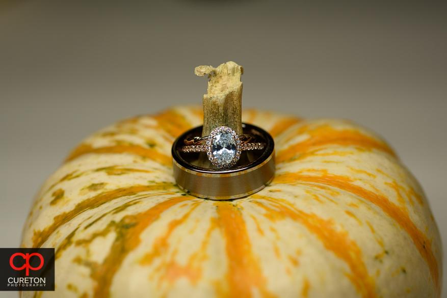 Wedding ring on a pumpkin for a fall wedding.