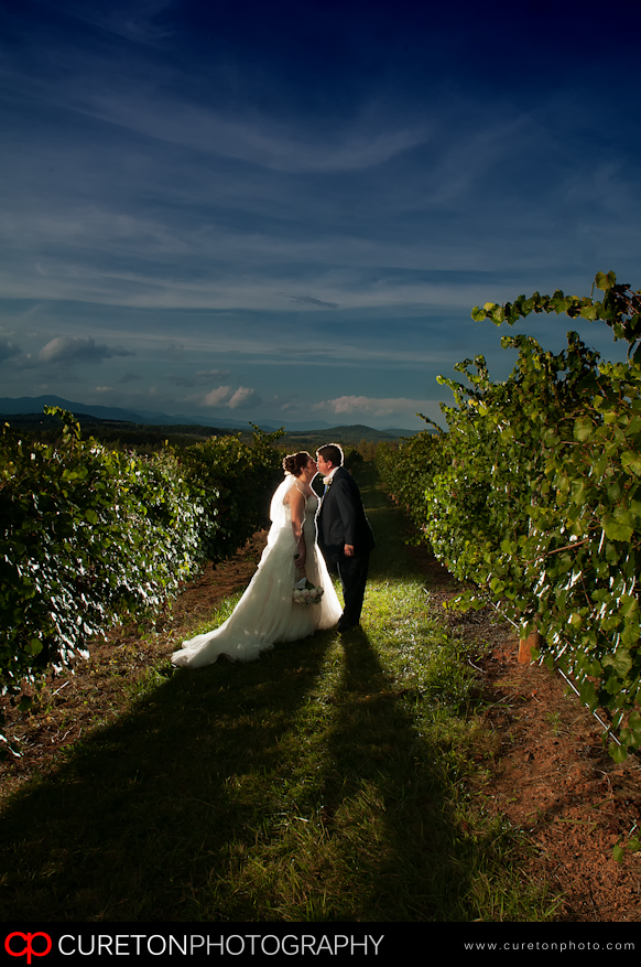 Couple after their wedding at Chattooga Belle Farm kissing.