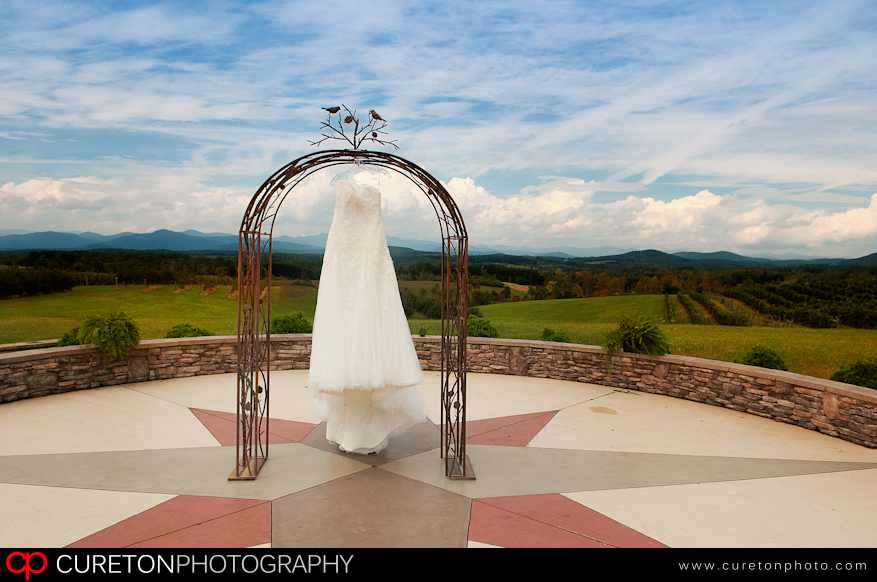 Wedding Dress hanging in the observation circle at Chattooga Belle Farm.