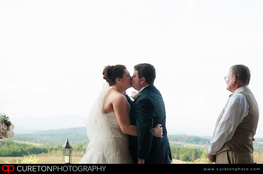 Adam and Elizabeth's first kiss as a married couple.
