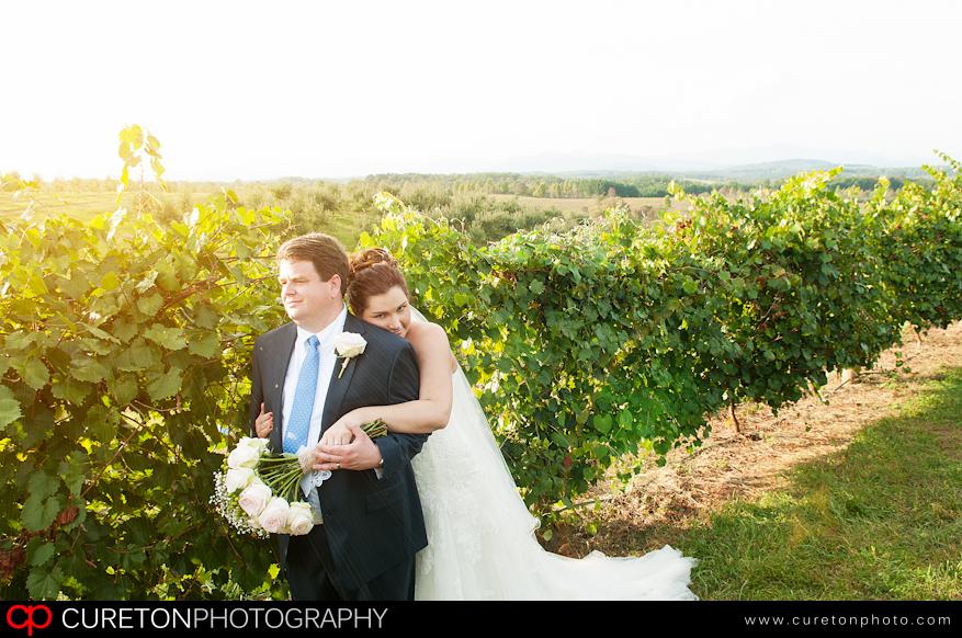 Elizabeth and Adam after thier wedding in the vineyard.