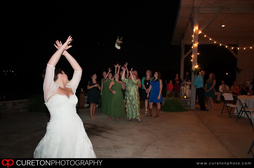 Elizabeth tossing the bouquet.