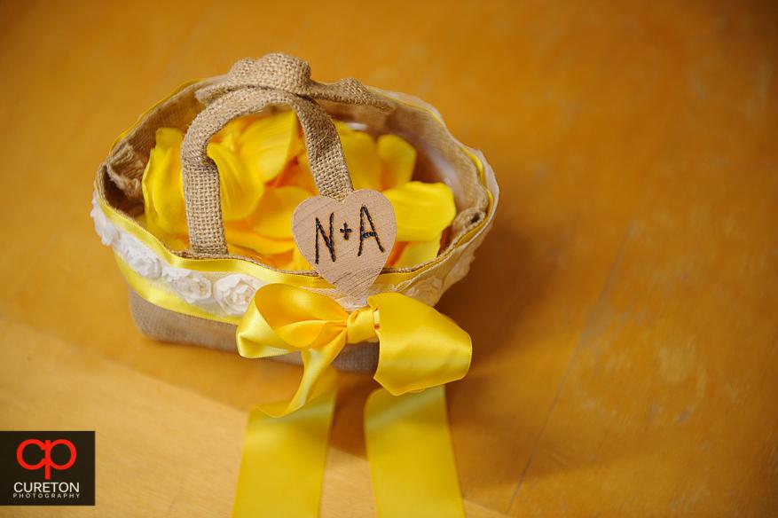 The flower girl's basket.