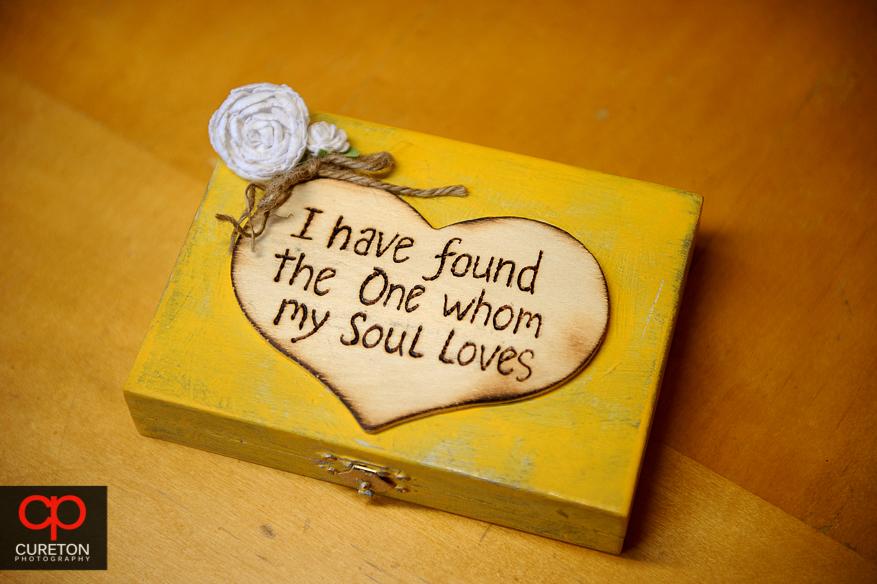 The ring bearer's box.