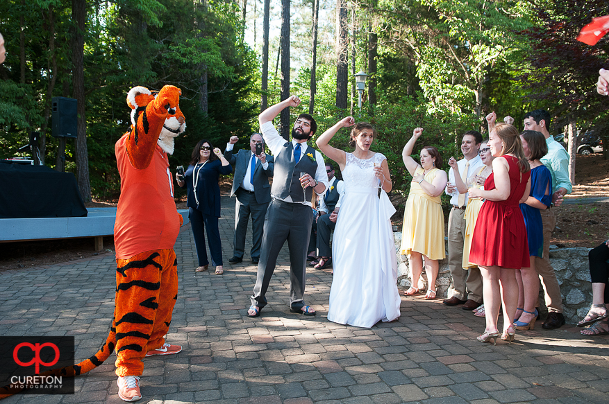 The Clemson Tiger surprises the bride and groom.