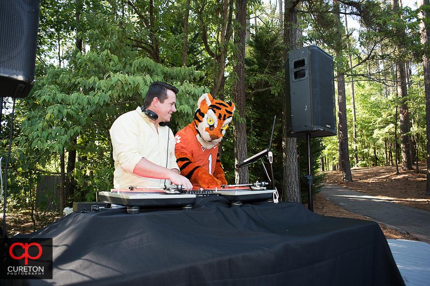 The Clemson Tiger DJ Ing at the wedding.