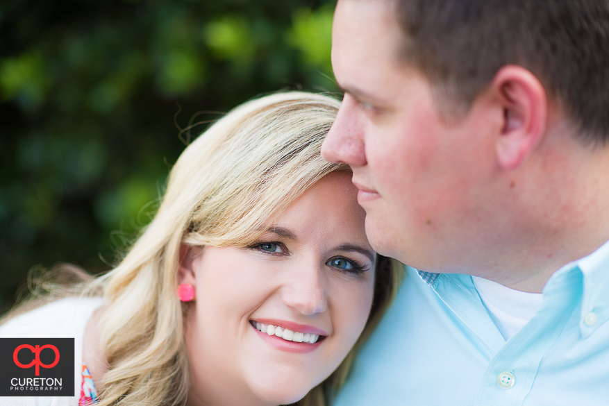 Closeup of bride to be during an engagement session on the Clemson University Campus..