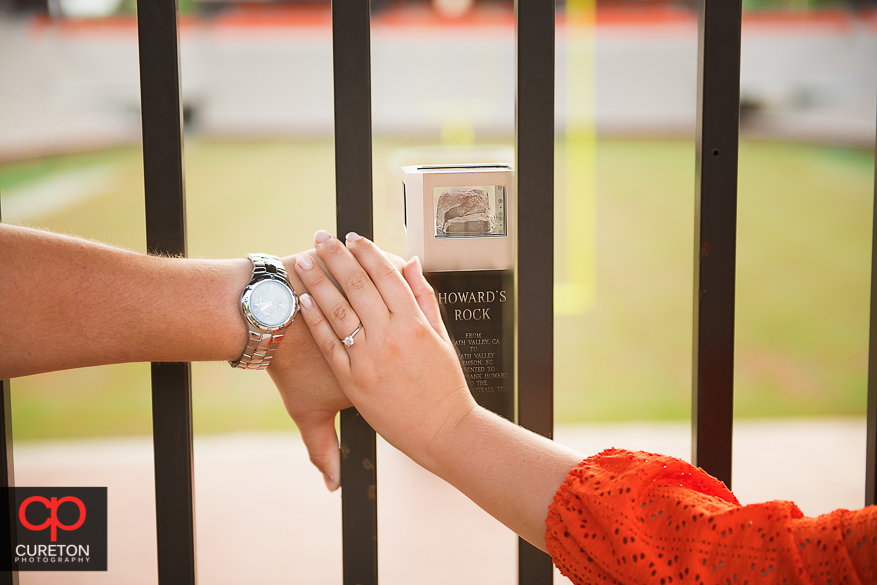 Engagement ring and Howard's rock at Clemson.