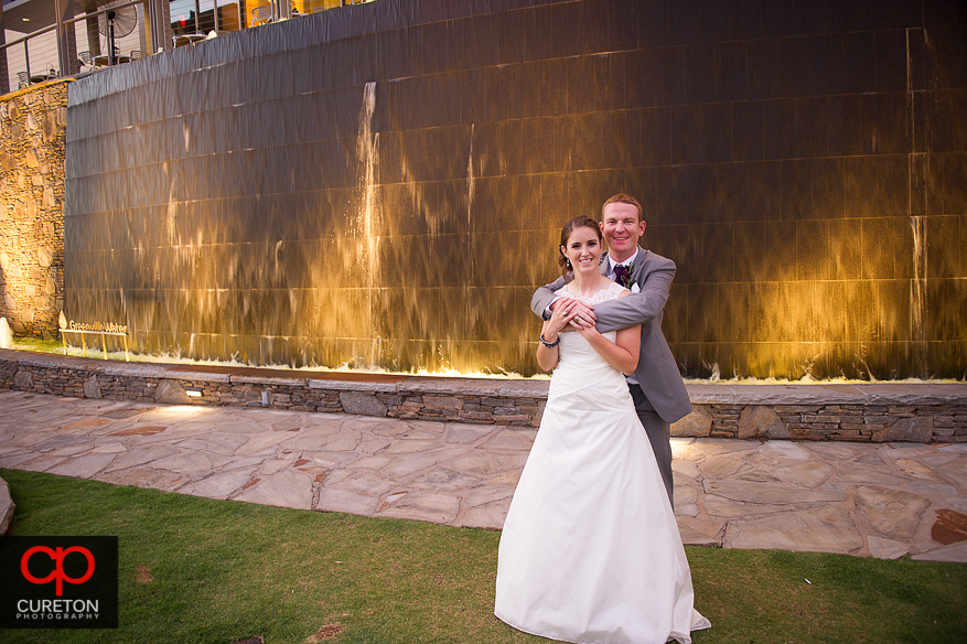 Bride and Groom outside their reception in downtown Greenville,SC.