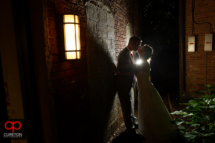 Bride and Groom at sunset after their Huguenot Loft wedding reception.