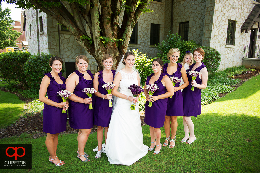 The bride and her bridesmaids in front of the church in Clemson,SC.