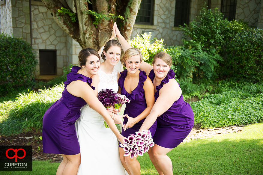 The bride poses with her sorority sisters.