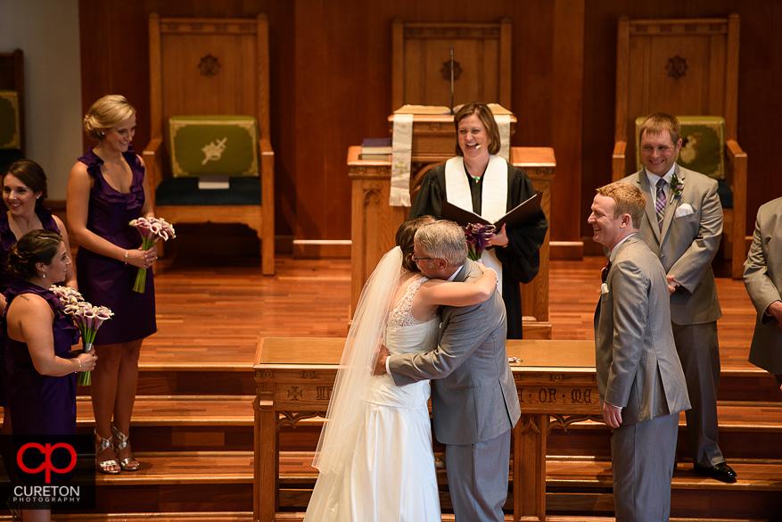 The wedding ceremony in Clemson,SC.