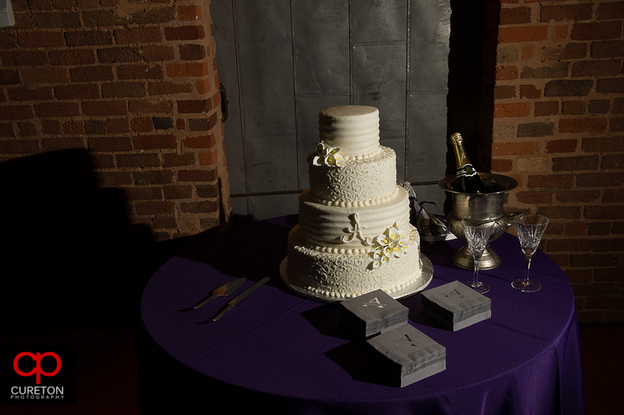 The wedding cake by Kathy and company awaiting the bride and groom.