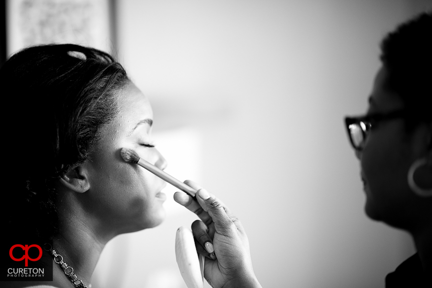 Bride getting ready at the downtown Greenville Marriot.