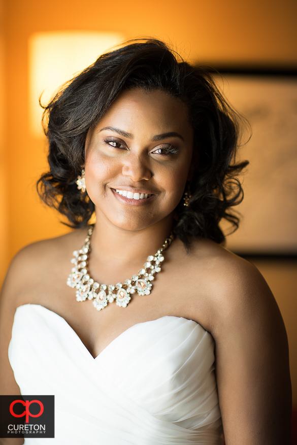 Beautiful bride in window light.