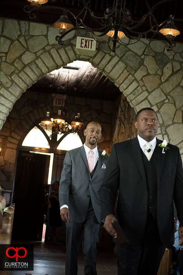The groom entering Glassy Chapel.