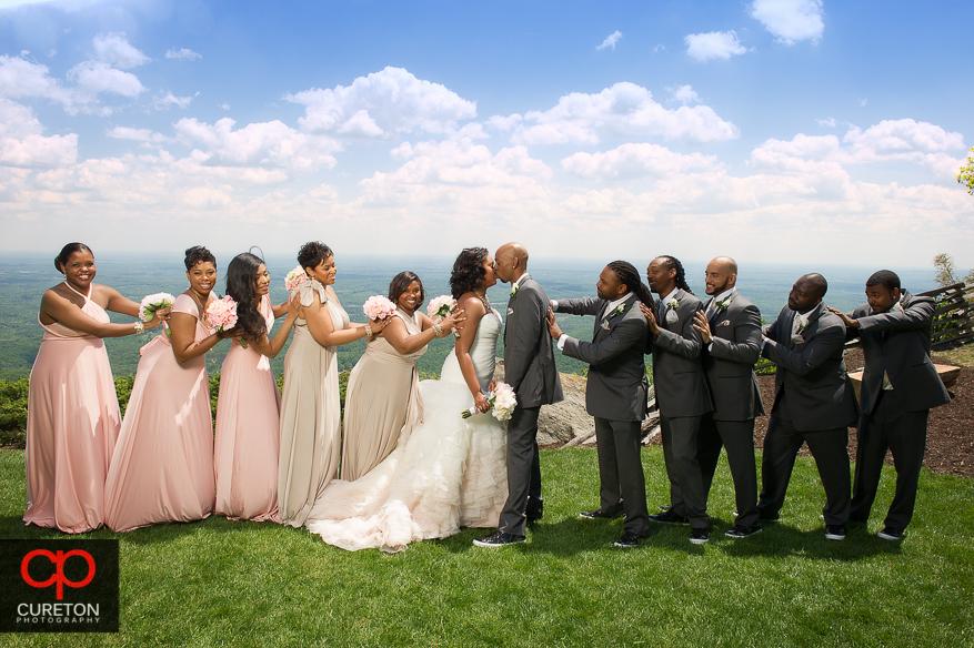 Creative wedding party photo at Glassy Chapel.