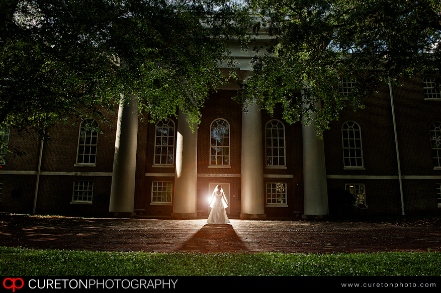 Bride standing in the horseshoe in downtown Columbia,SC.