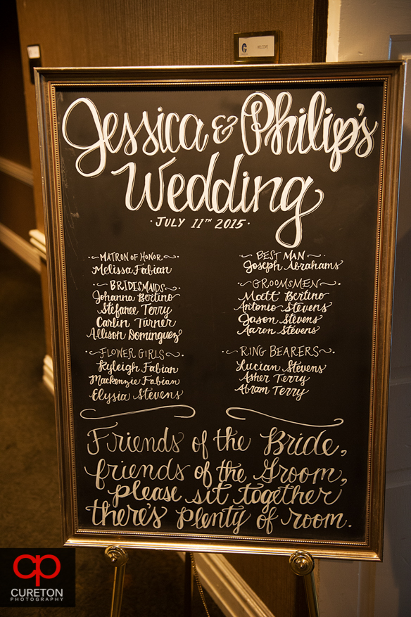 Wedding sign in front of the ceremony.