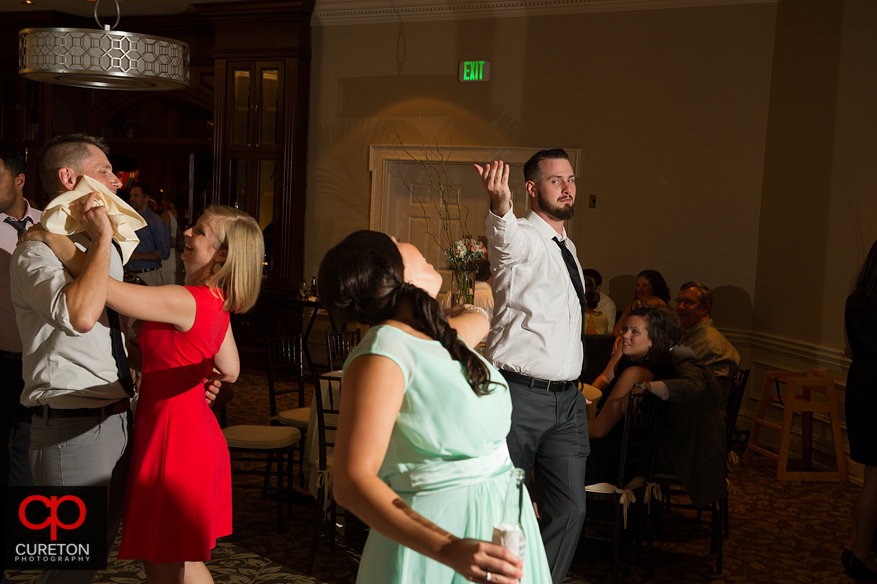 Guest dance at the Commerce Club wedding reception.