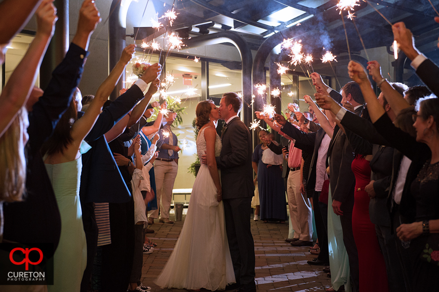 Bride and groom's sparkler leave at the Commerce Club downtown.