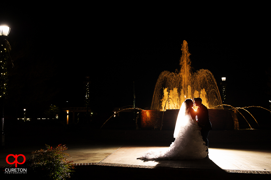 Bride and Groom kissing after their Davenport Greer,SC wedding.