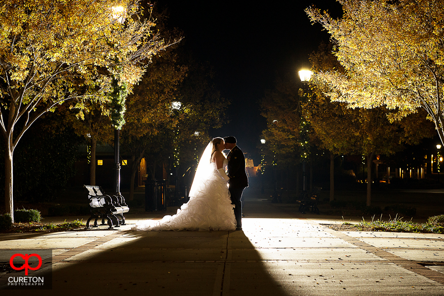 Bride and Groom in Greer City Park after their wedding at The Davenport in Greer,SC..