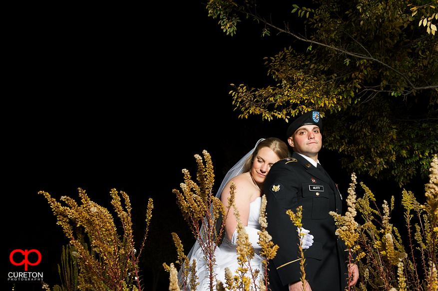 Bride and Groom in Greer City park.