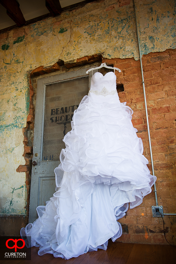 Brides dress hanging in the bridal loft at The Davenport in Greer,SC..