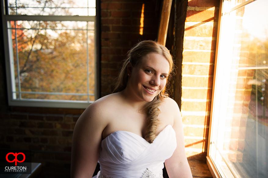 Bride in the bridal loft.