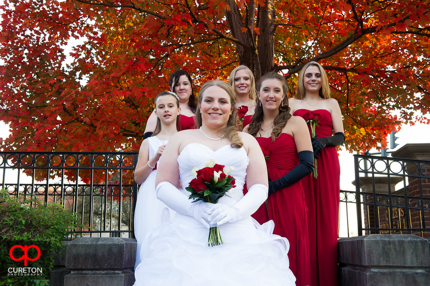 Bride and bridesmaids outside The Davenport.