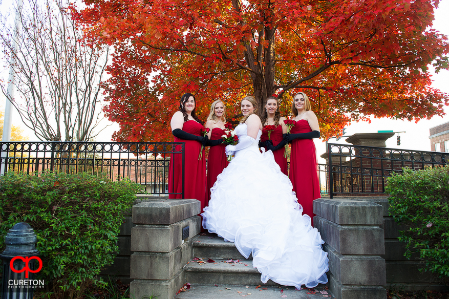 Bride and Bridesmaids before her wedding.