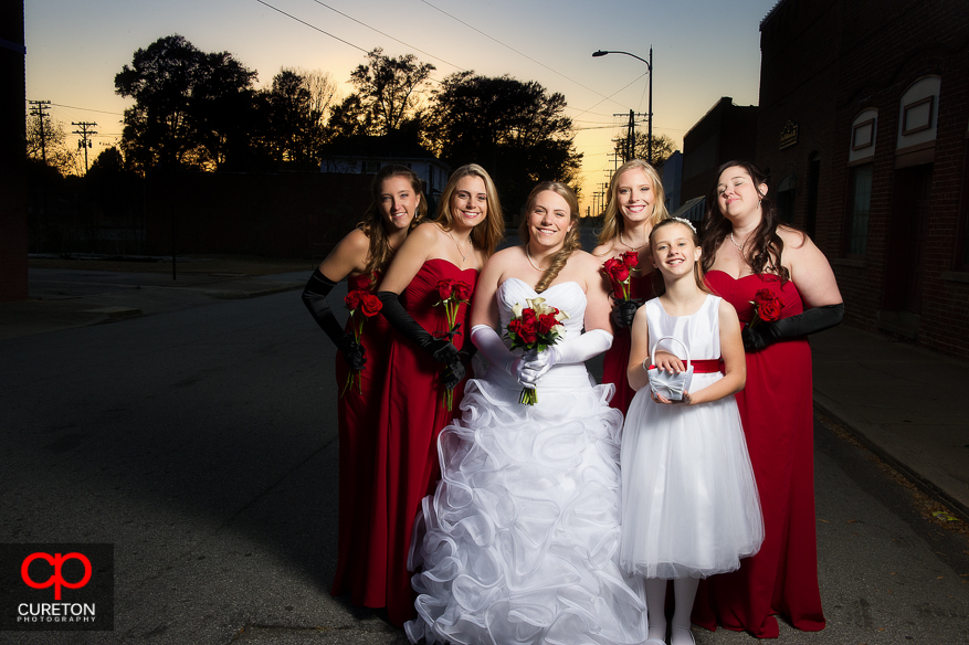 Bride and Bridesmaids at sunset.