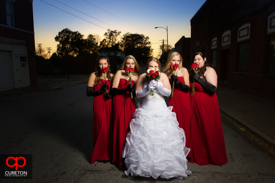 Bride and Bridesmaids at sunset outside The Davenport in Greer,SC.