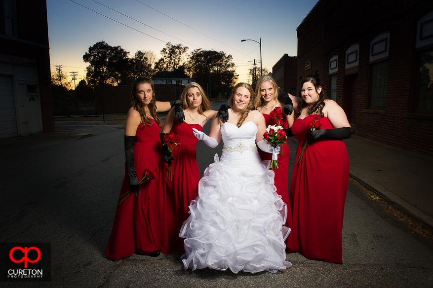 Bride and Bridesmaids showing attitude.