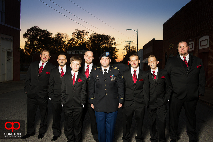 Groom and Groomsmen before the wedding at The Davenport in Greer,SC.