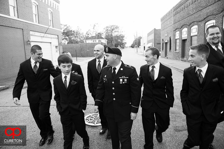Groom and Groomsmen walking the streets of downtown Greer,SC.