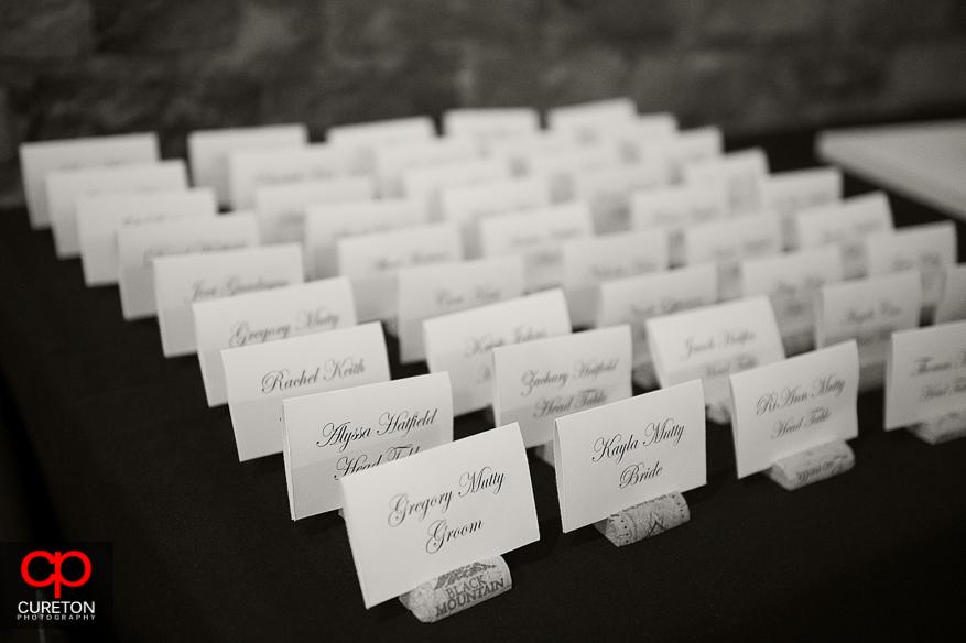 Wedding name cards.