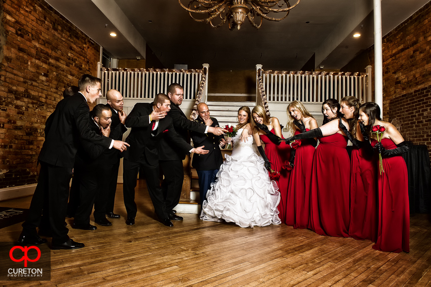 Creative wedding party photo at The Davenport in Greer,SC.