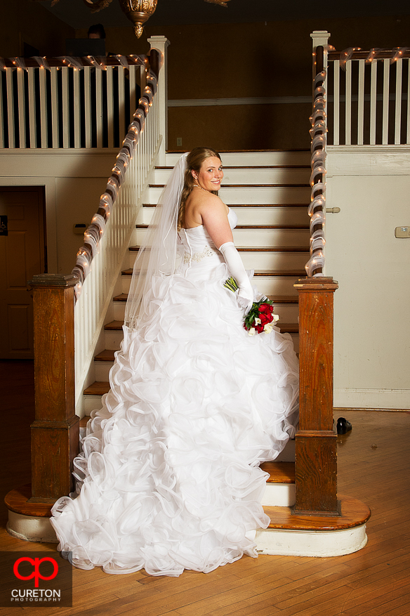 Bride and dress at The Davenport in downtown Greer,SC.