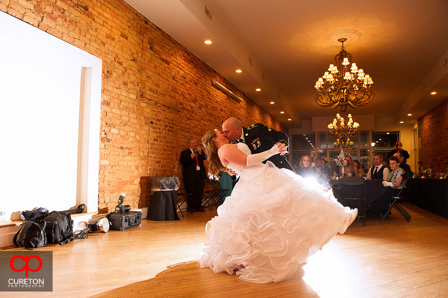 Couple dancing their first dance at their wedding at The Davenport in Greer,SC..